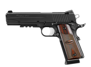 1911, .45 ACP, Pistol, Full size, 5in bbl, Nitron, BLK, SAO, SIGLITE, Rosewood Grip, (3) 8rd Steel Mag, Beavertail