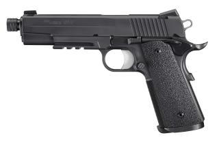 1911, .45 ACP, Pistol, Full size, 5in bbl, Nitron, BLK, SAO, SIGLITE