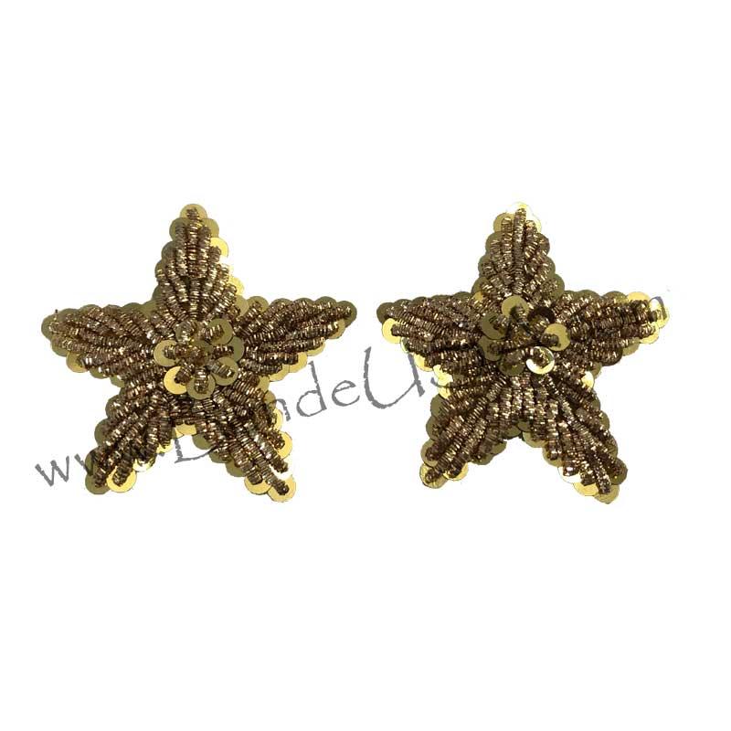 Vintage Embroidered Gold Sequin Stars-Hessberg USA