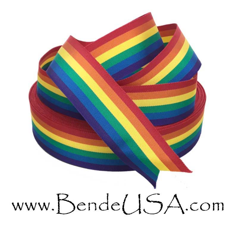 "Rainbow Striped Grosgrain Ribbon 1 3/8""-Hessberg USA"