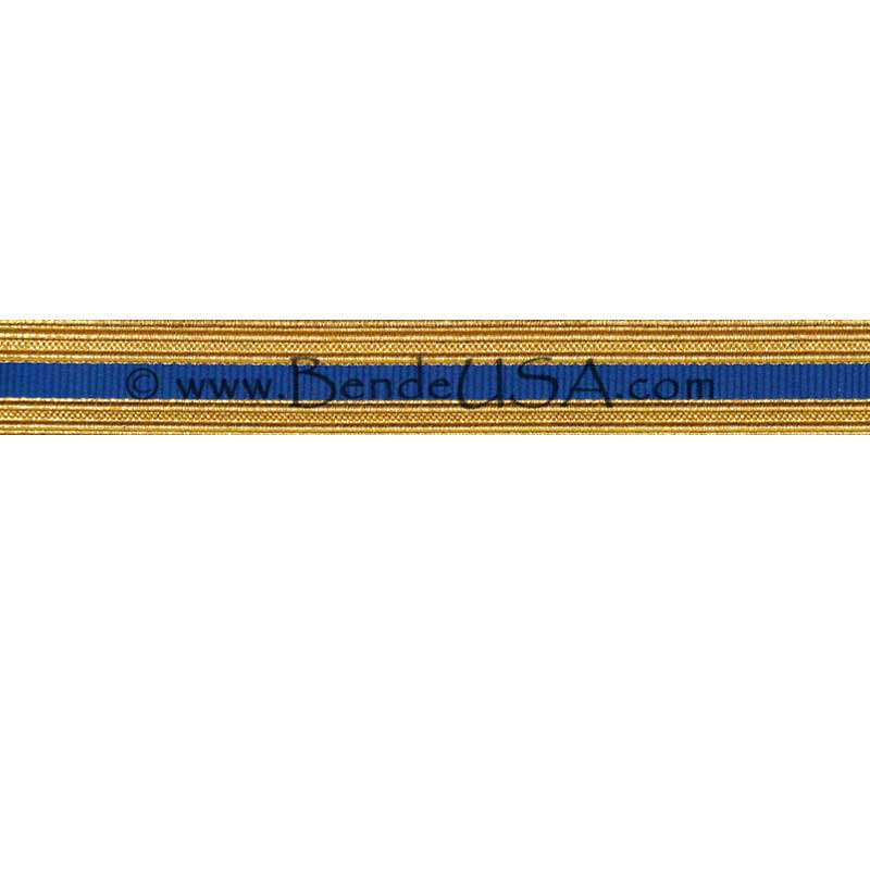 Metallic Sleeve Braid Regular Gold/Royal Blue-Hessberg USA