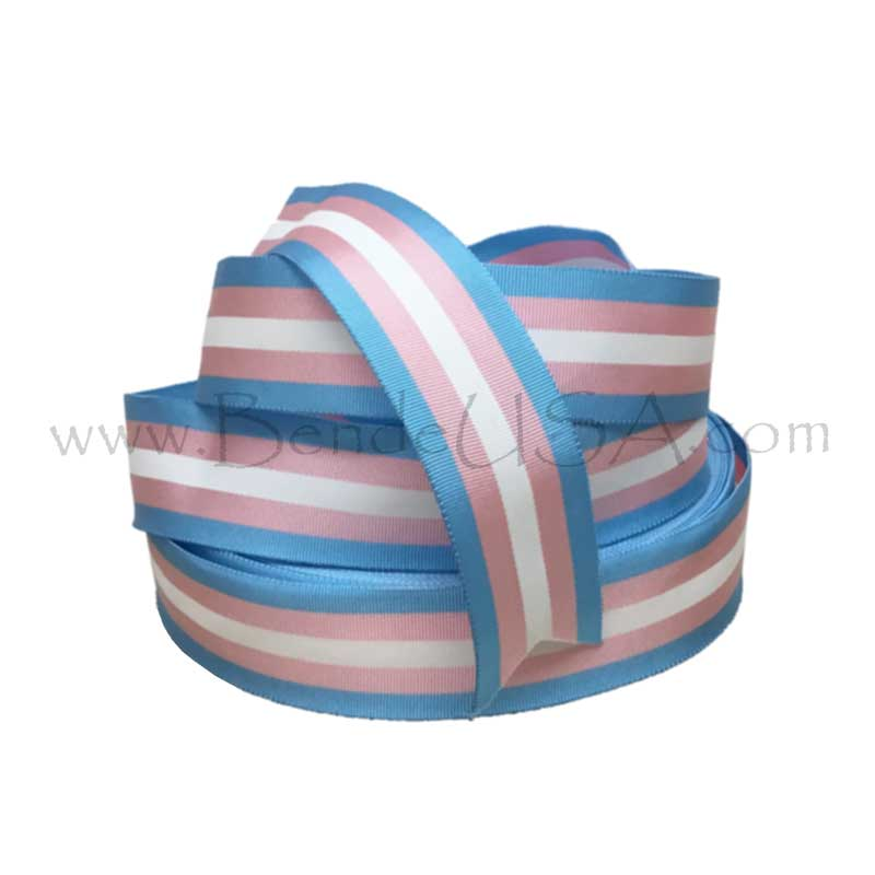 "Transgender Flag Grosgrain Ribbon 1 3/8""-Hessberg USA"