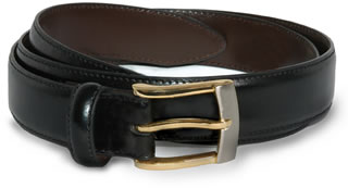 Leather Dress Belt w/2 Tone Buckle-