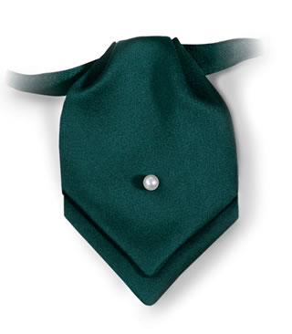 Polyester Satin Pointed Mini Ascot with Pearl Pin-