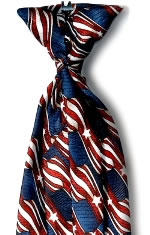 USPS Stars & Stripes Clip-on Tie<br>with Buttonholes-