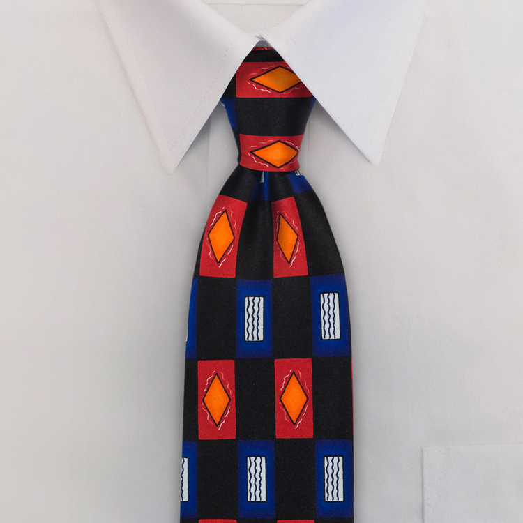Maverick FA1 Navy/Red/Gold<br>Four-In-Hand Necktie-SB