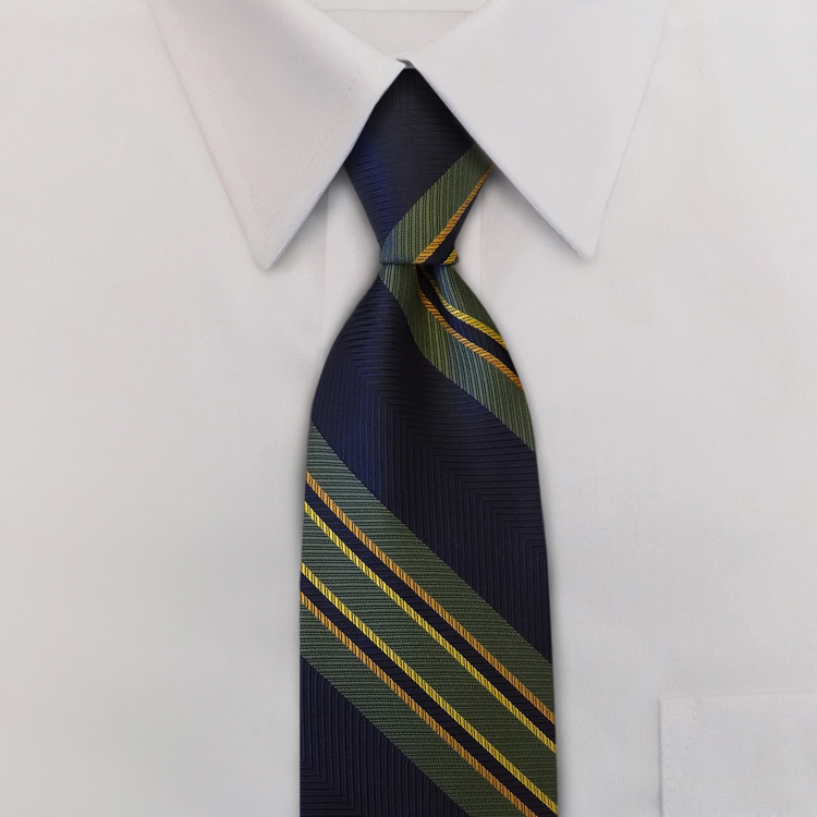 Billings Stripe #WA1 Navy/Olive/Gold<br>Four-in-Hand Necktie-SB