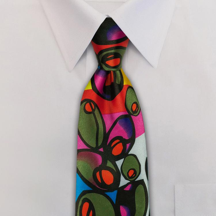 Olives PB1 Olive/Blue/Violet<br>Four-In-Hand Necktie-SB