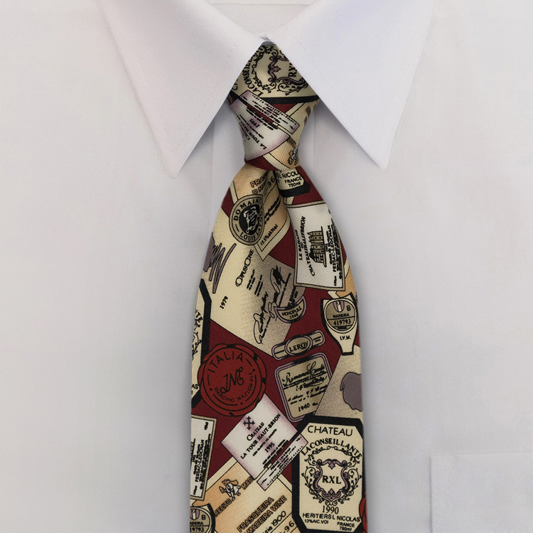Wine Labels QB1 Wine<br>Four-In-Hand Necktie-SB