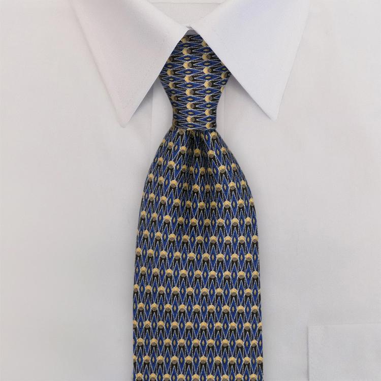 Arabesque DC1 Blue/Silver<br>Four-In-Hand Necktie-SB