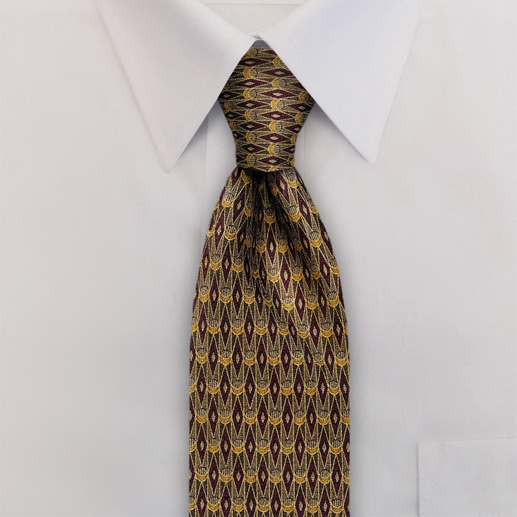 Arabesque DC2 Wine/Gold<br>Four-In-Hand Necktie-SB