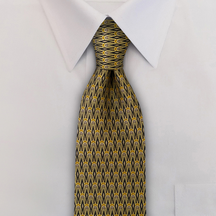 Arabesque DC3 Black/Gold<br>Four-In-Hand Necktie-SB
