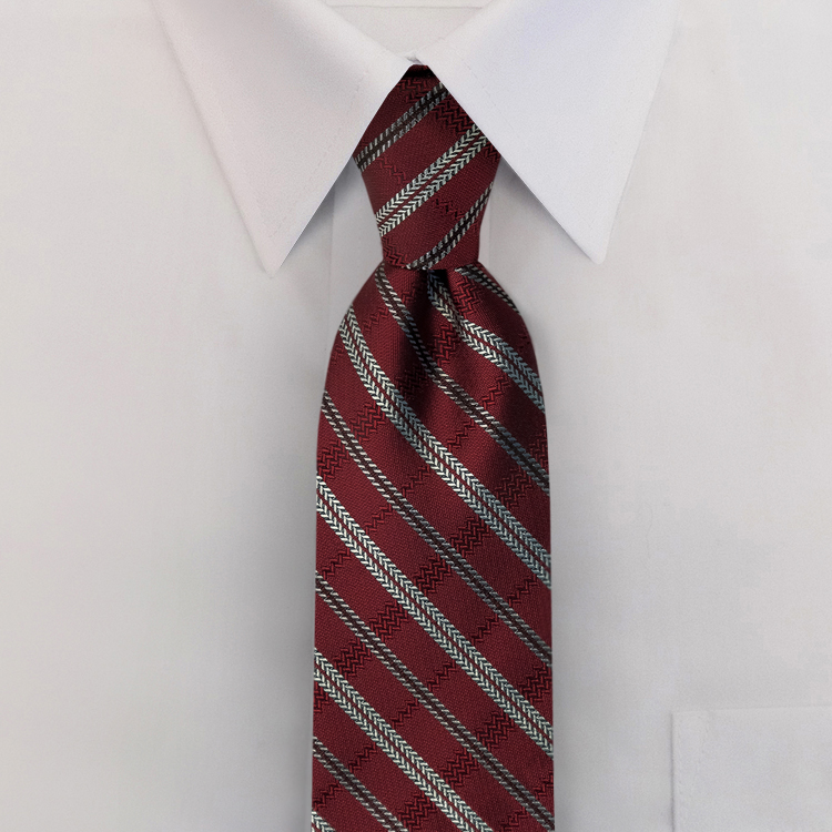 Tracks FC2 Burgundy<br>Four-In-Hand Necktie-SB