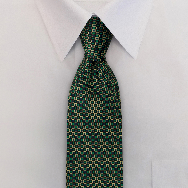 Checkerboard JC1 Teal<br>Four-In-Hand Necktie-SB