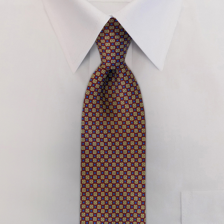 Checkerboard JC3 Burgundy<br>Four-In-Hand Necktie-SB