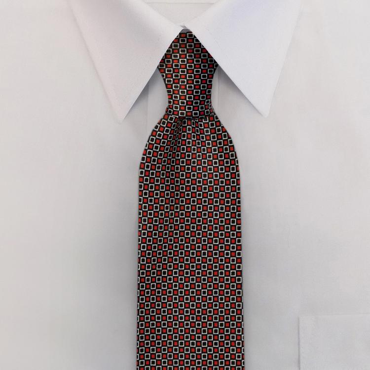 Checkerboard JC4 Black/Red<br>Four-In-Hand Necktie-SB