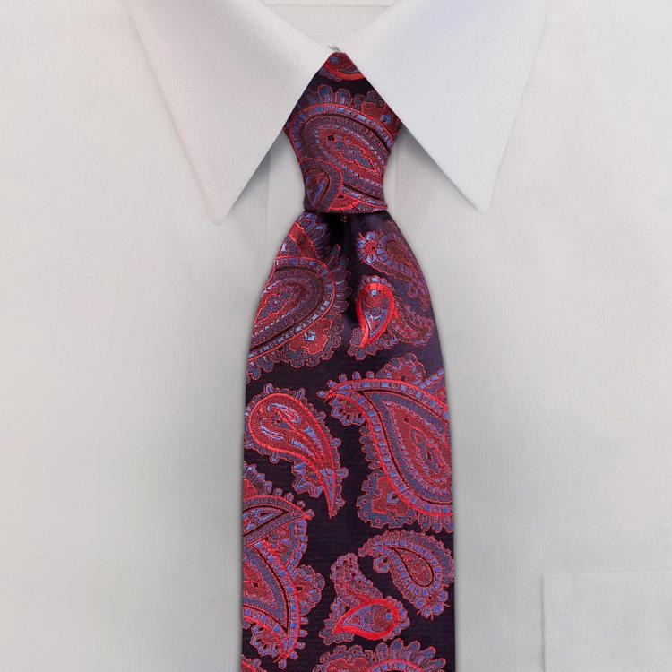Haight Paisley #RC2 Crimson Blue<br>Four-In-Hand Necktie-SB