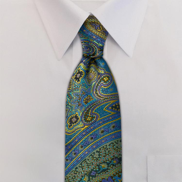 Ashbury Paisley #SC1 Moon Gold<br>Four-In-Hand Necktie-SB