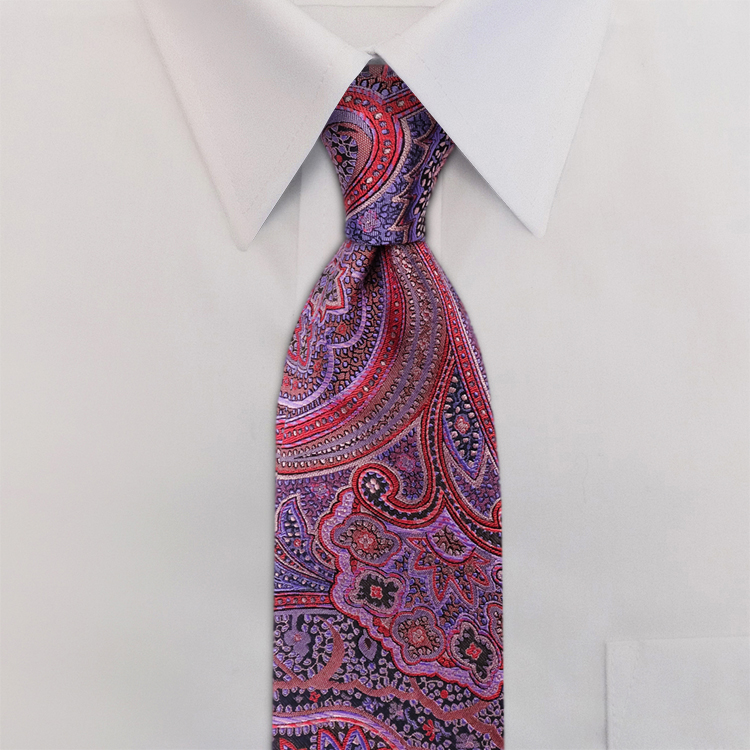 Ashbury Paisley #SC2 Passion Fruit<br>Four-In-Hand Necktie-SB