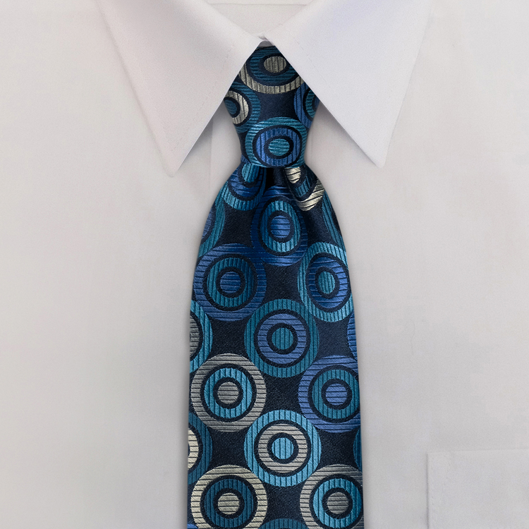 Circle Maximus #TC1 Navy/Teal<br>Four-In-Hand Necktie-SB