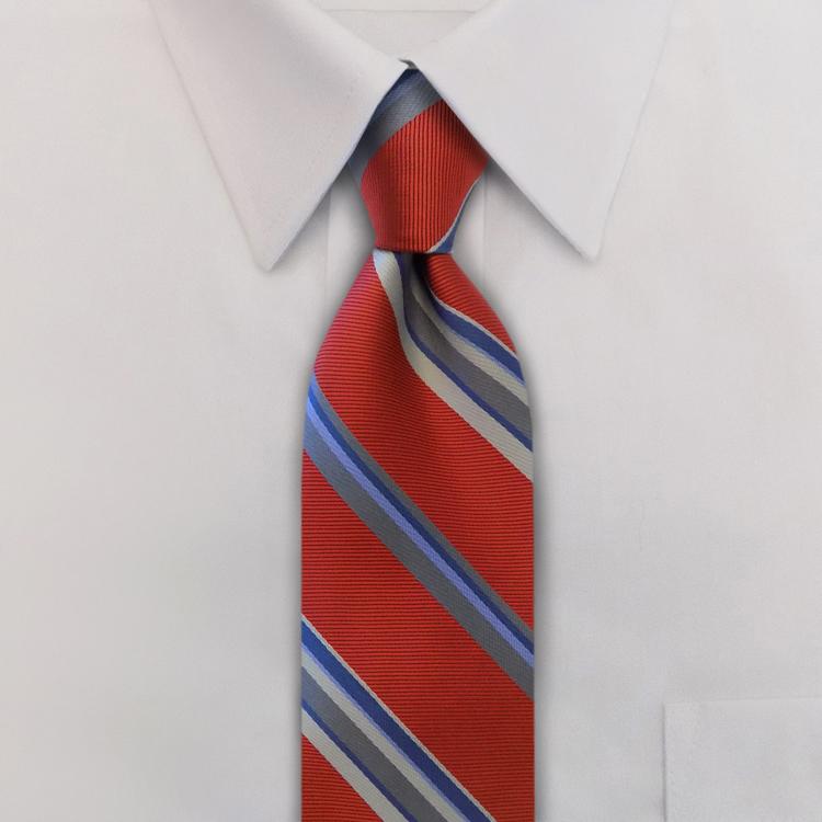 Eton Stripes #WC1 Scarlet<br>Four-In-Hand Necktie-SB