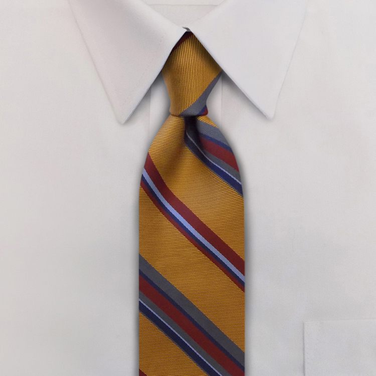 Eton Stripes #WC3 Gold<br>Four-In-Hand Necktie-SB