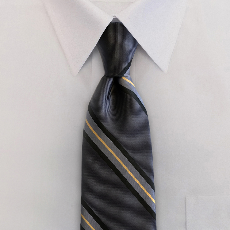 Dover Stripes #XC1 Ebony/Charcoal<br>Four-In-Hand Necktie-SB