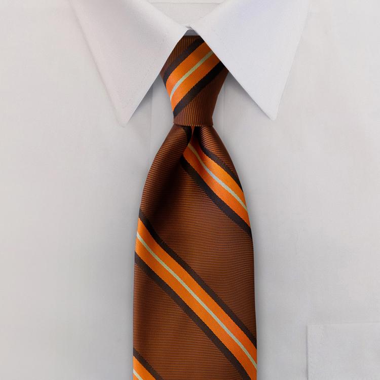 Dover Stripes #XC2 Spice/Ebony<br>Four-In-Hand Necktie-SB