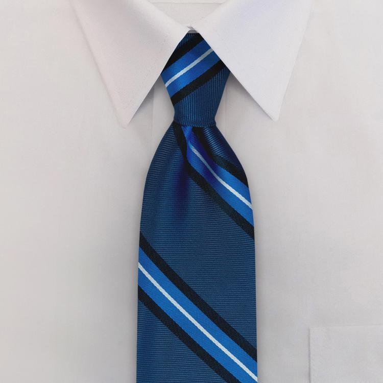 Dover Stripes #XC3 Ocean/Midnight<br>Four-In-Hand Necktie-SB