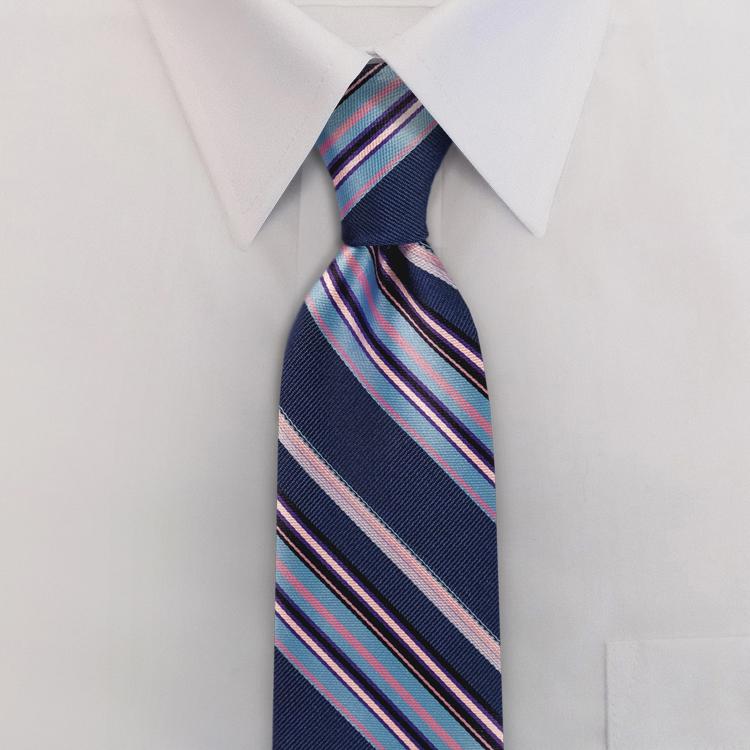 Venezia YC1 Blueberry/Bubblegum Stripe <br>Four-In-Hand Necktie-SB