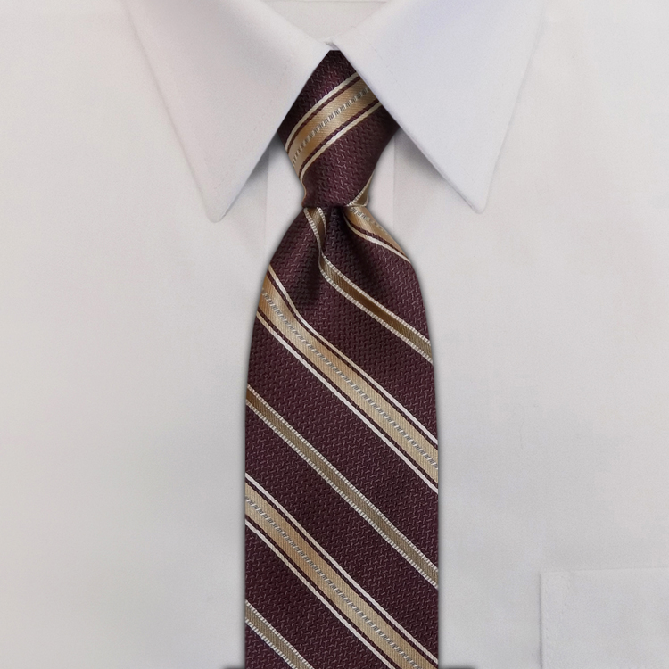 Metro Stripes HD3 Wine/Almond/Biscuit<br>Four-In-Hand Necktie-SB
