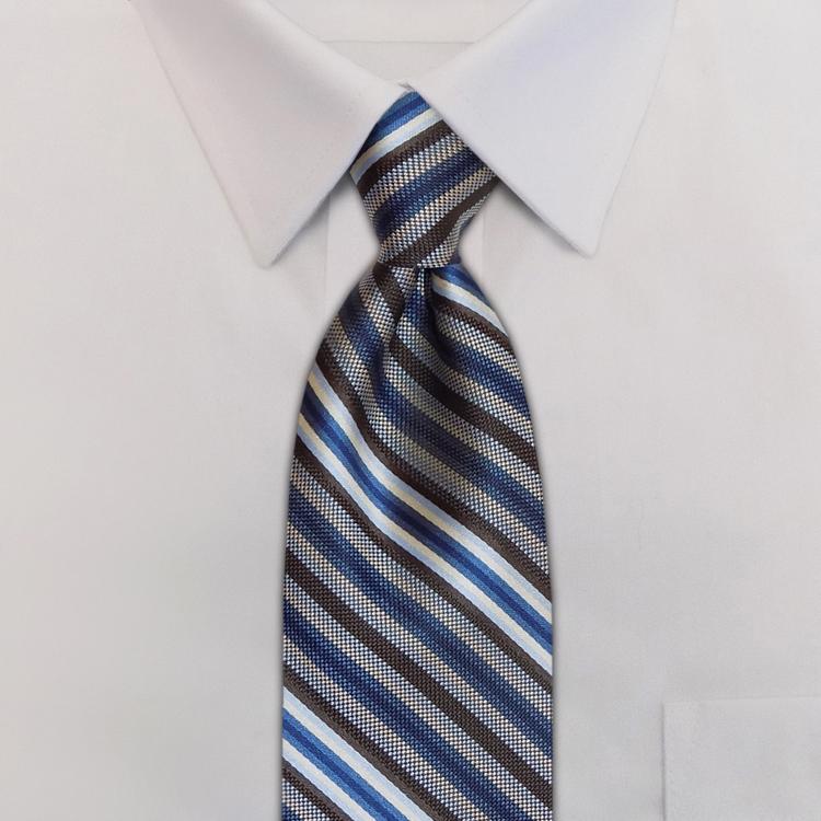 Metro Stripes HD4 Blue/Brown/Winter White<br>Four-In-Hand Necktie-SB