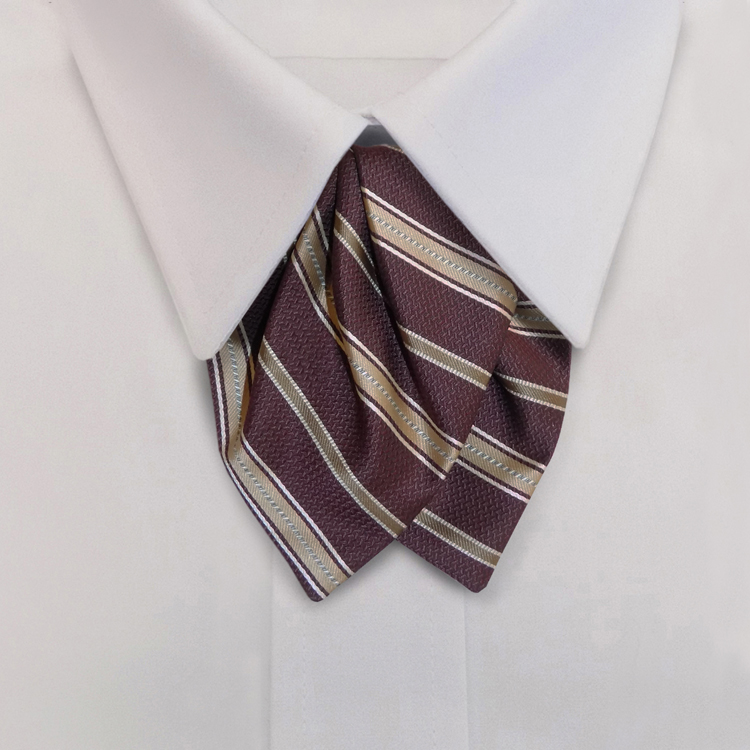 Metro Stripes HD3 Wine/Almond/Biscuit<br>Women&#8216;s Banded Tulip bow-Samuel Broome Uniform Accessories