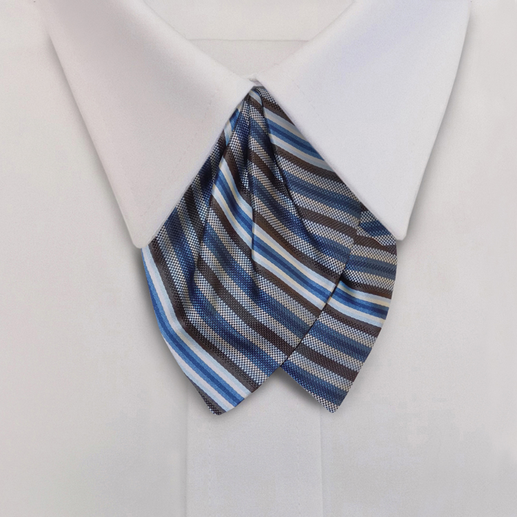 Metro Stripes  HD4 Blue/Brown/Winter White <br>Women&#8216;s Banded Tulip bow-SB
