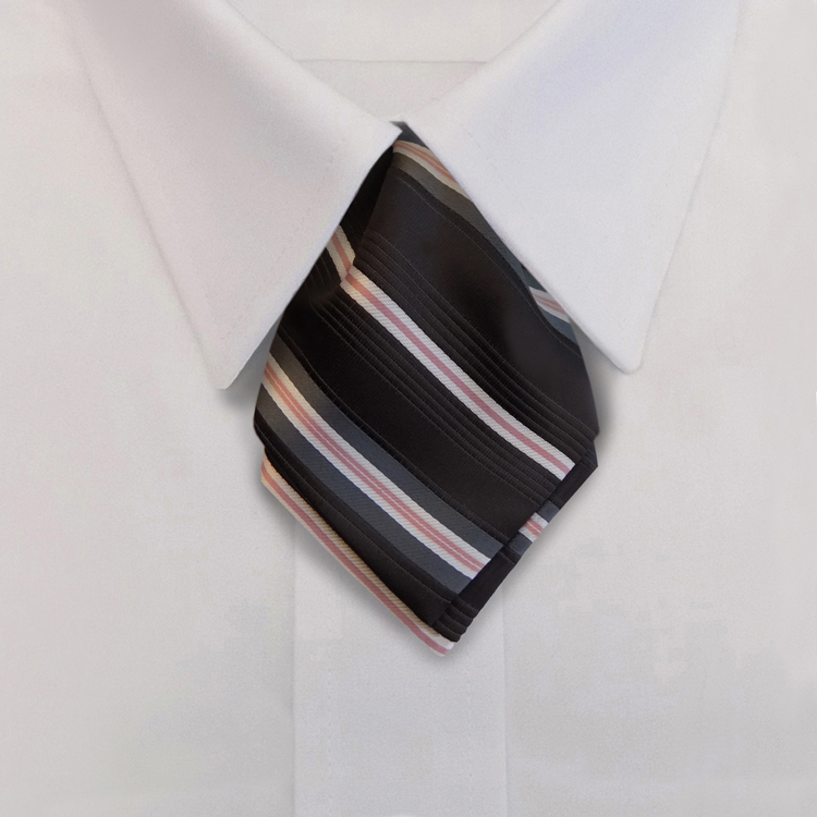 Metro Stripes HD1 Black/Salmon/Winter White<br>Women&#8216;s Banded Pointed Ascot-Samuel Broome Uniform Accessories