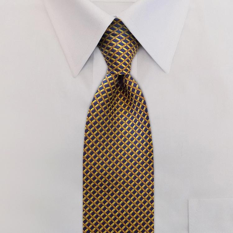 Interstate KD2 Navy/Gold/Yellow<br>Four-In-Hand Necktie-SB