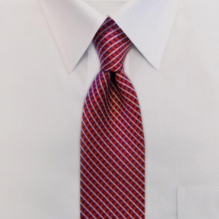 Interstate KD3 Red/Navy/White<br>Four-In-Hand Necktie-SB