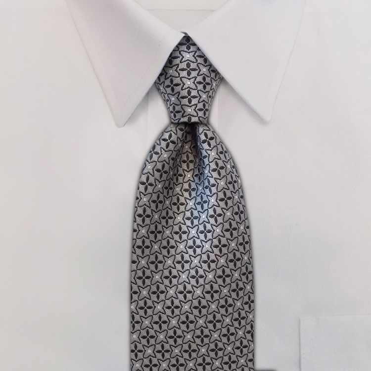 Crosshairs LD2 Grey/Silver<br>Four-In-Hand Necktie-SB