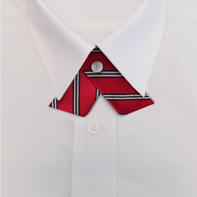 Red/Navy/WhiteStripe #393<br>Crossover Tie with Pearl Snap-SB
