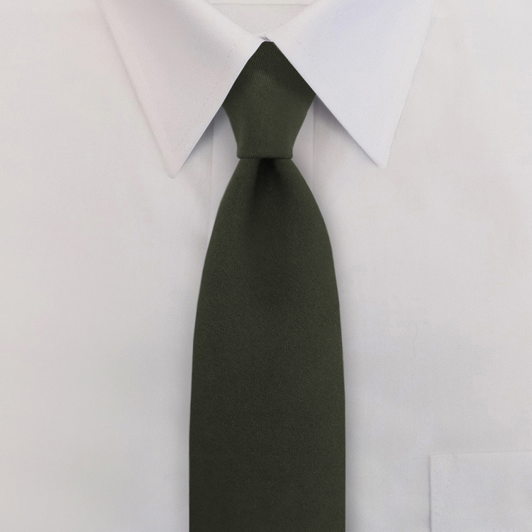 "3.5"" Polyester/Wool Clip-on necktie with buttonholes-SB"