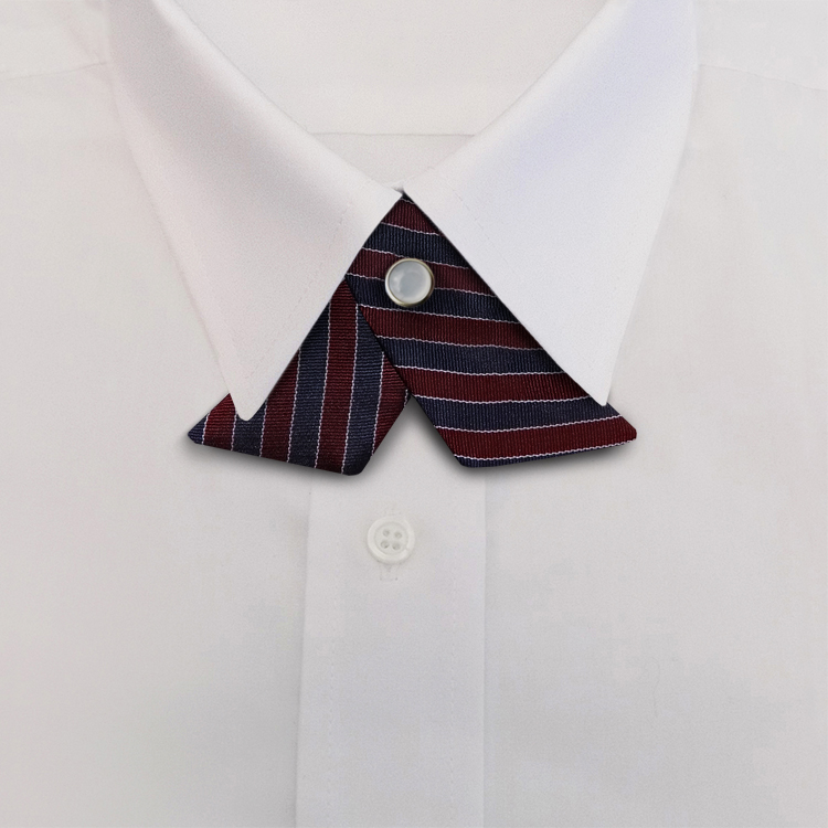 Navy/Burgundy/White Stripe #392<br>Crossover Tie with Pearl Snap-SB