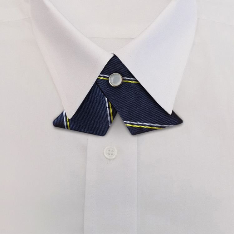 Navy/Gold/White Stripe #394<br>Crossover Tie with Pearl Snap-SB