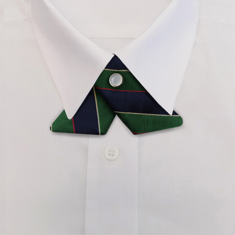 Navy/Green/Gold Stripe #397<br>Crossover Tie with Pearl Snap-SB
