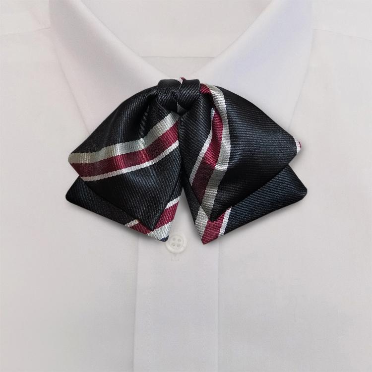 Black/Burgundy/White Stripe #398<br>Manager Bow<br>on Adjustable Band-SB