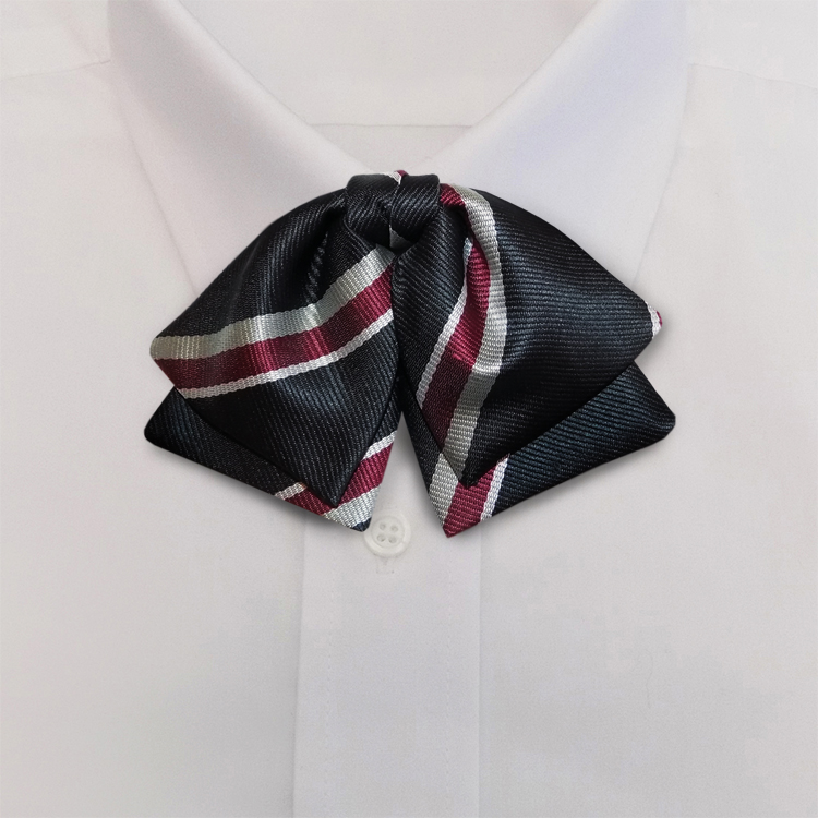Black/Burgundy/White Stripe #398<br>Crossover Tie with Pearl Snap-SB