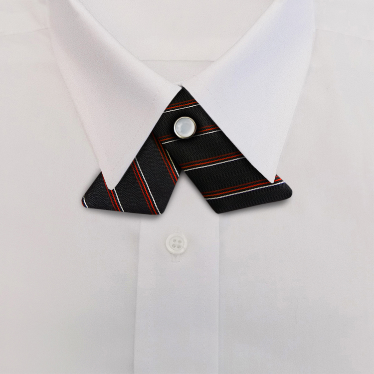 Black/Red Stripe #617<br>Crossover Tie with Pearl Snap-SB
