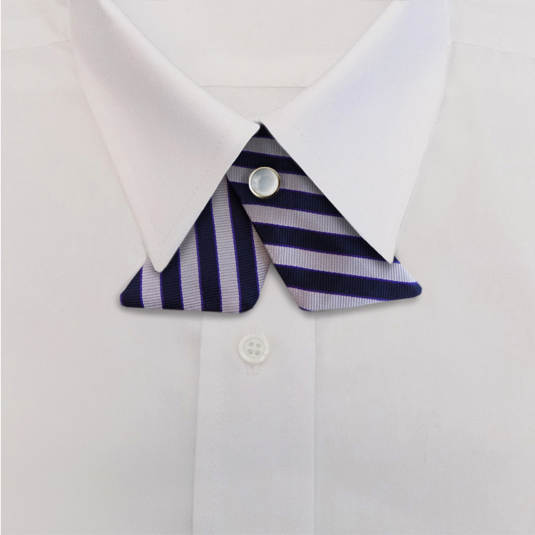 Navy/Lavender Stripe #624<br>Crossover Tie with Pearl Snap-SB