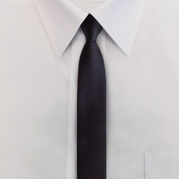 """2.25"""" Polyester Satin Black Skinny Tie-SB"""