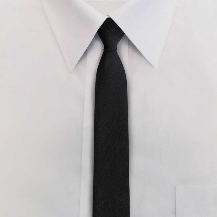 "2.25"" Polyester Solid Black Skinny Tie-SB"