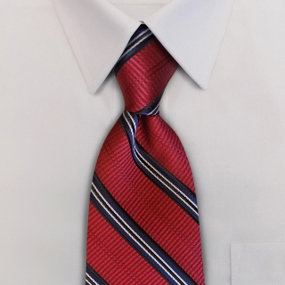 Venetian Blinds ED2 Scarlet Red/Black/Winter White<br>Pre-Tied Clip-On Necktie-Samuel Broome Uniform Accessories